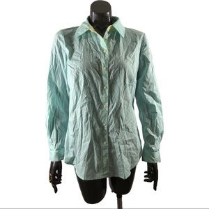 Susan Graver Tiffany Blue Striped Button Down Top